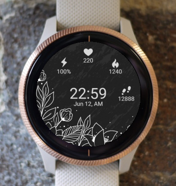 Garmin Watch Face - Flowers BW2