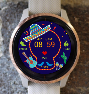 Garmin Watch Face - Sugar Skull 04