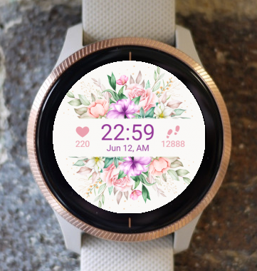 Garmin Watch Face - Flowers in a Row G
