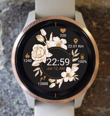 Garmin Watch Face - White Flowers G