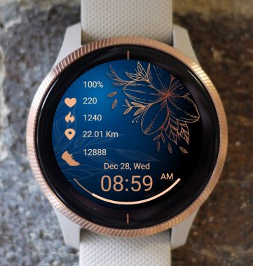 Garmin Watch Face - Gold Flowers 01
