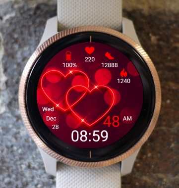 Garmin Watch Face - Red Hearts