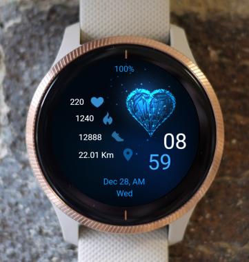Garmin Watch Face - Blue Heart