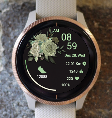 Garmin Watch Face - Green Flower