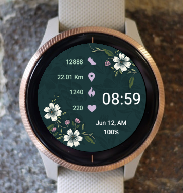 Garmin Watch Face - Night Floral