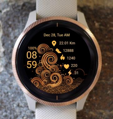 Garmin Watch Face - Ocean Waves