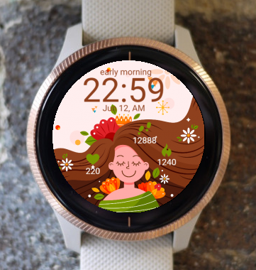 Garmin Watch Face - Flowers in my hair G