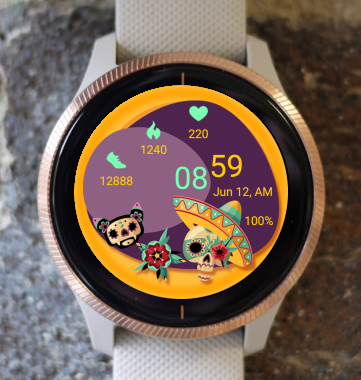 Garmin Watch Face - Sugar Skull 02
