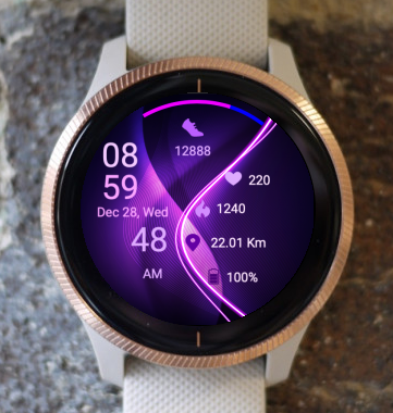 Garmin Watch Face - Purple Waves