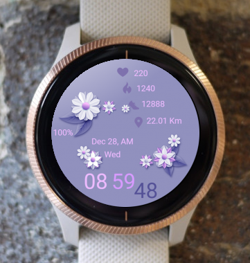 Garmin Watch Face - Purple Flowers