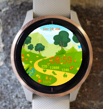 Garmin Watch Face - Spring path