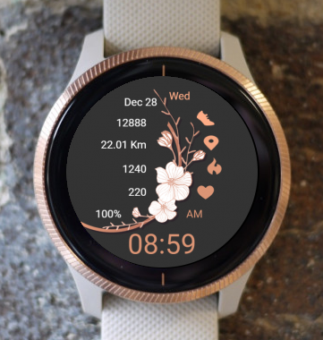 Garmin Watch Face - White Flowers 03