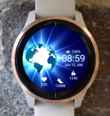 Garmin Watch Face - Glowing Earth